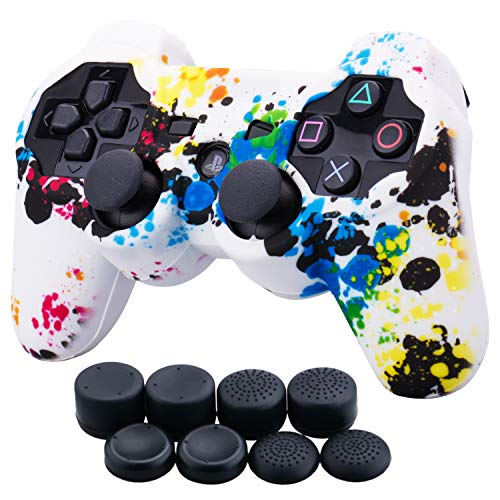 9CDeer 1 Piece of Silicone Water Transfer Protective Sleeve Case Cover Skin + 8 Thumb Grips Analog Caps for PS3 Controller, Splashing Graffiti (Covers Skin Ps3)