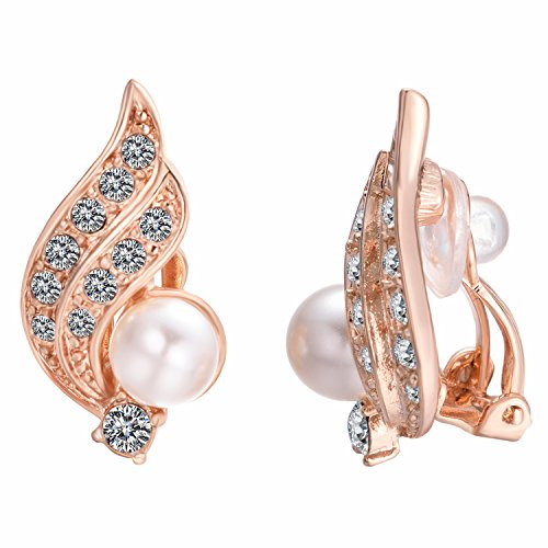 Yoursfs Angel Wing Clip Earrings Pearl Crystal Rhinestone Jewlery for Women 18K Rose Gold (Gold Plated Rhinestone Earrings Clips)