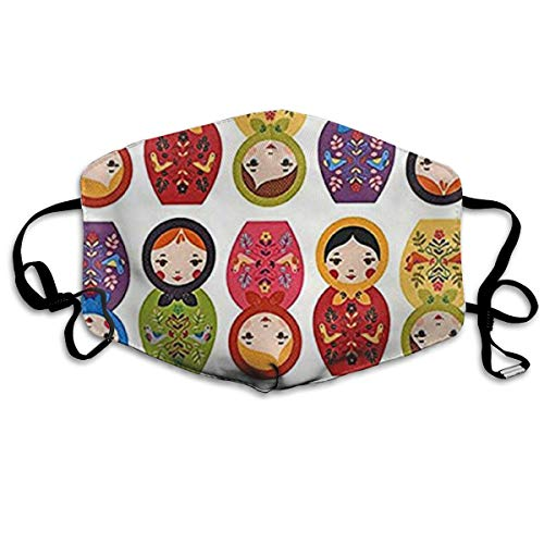 NOT Russian Matryoshka Nesting Dolls Bright Personality Lovely Unisex Dust Mask, Suitable for Young Men and Women, Ski Bike Camping Windproof Motorcycle Face Mask