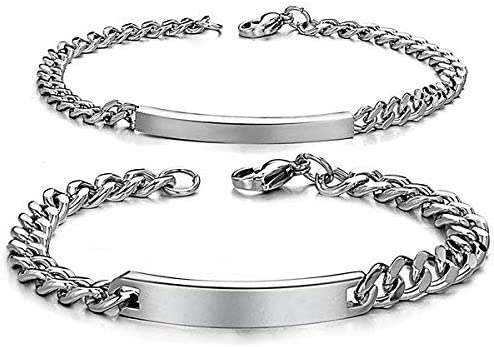 JewelryWe DIY Pulseras Parejas Acero Inoxidable, Simple Pulido Pulsera Brazalete de Amor, Plateado(Un par) Grabado Personalizado,Regalo San Valentín