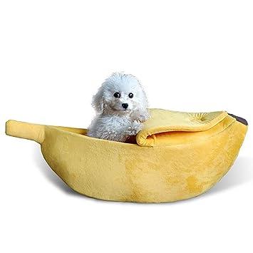 Jian E -/ Nido para mascotas cerrado Banana cálida Perrera para gatos Cama para perros