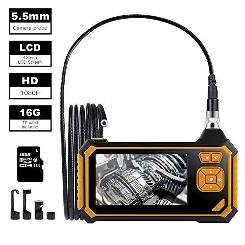 Seesi Industrial Endoscope 5.5mm Borescope Ultra Slim Inspection Snake Camera Digital Waterproof 4.3 inch Color LCD Screen with 2600mAH Lithium-Ion Battery and 3M/9.84FT Semi-Rigid Cable