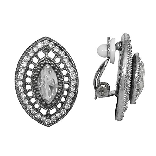 Vintage Look Rhinestone Clip On Earrings - Assorted Styles (Silver Tone Eye)