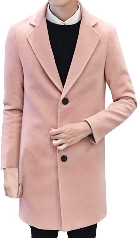Men Classic Solid Formal Single Breasted Figuring Overcoat Coat Men Long Wool Jacket Outwear Pea Coat Pink 1, 3XL