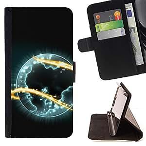 BullDog Case - FOR/HTC One M9 / - / alien planet universe eternity fire symbol art /- Monedero de cuero de la PU Llevar cubierta de la caja con el ID Credit Card Slots Flip funda de cuer