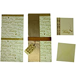 "Gold Wedding Gift Wrapping Set Includes Wrapping Paper, Tissue Paper, Greeting Card,Congratulations"" Gift Tag & Ribbons"