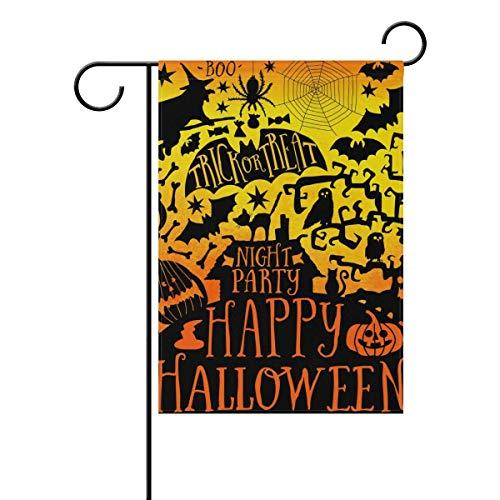GOOESING Double Sided Indoor Outdoor Garden Flag Happy Halloween Night Party Fade Resistant Seasonal Holiday Decor Yard Flag 27.5x39.3 Inch.