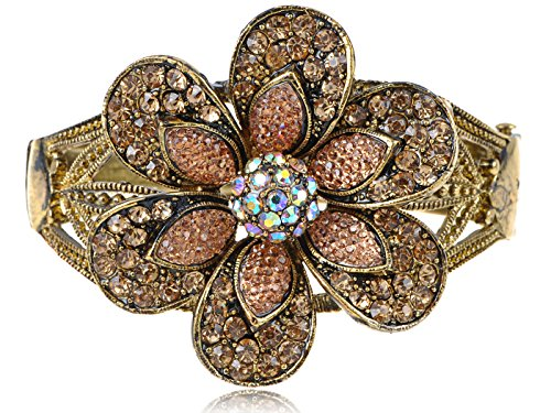 Alilang Womens Antique Golden Tone Light Topaz Colored Rhinestones Vintage Flower Bangle ()