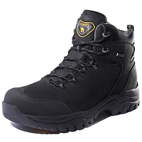 Working Camel - CAMEL CROWN Men's Waterproof Hiking Boots Comfortable Warm Leather Snow Boots Lightweight Trekking Shoes for Working,Size 10,Black