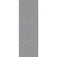 2.5 x 8 Diamond Mine Slate Gray and Steel Blue Hand Woven Area Throw Rug Runner