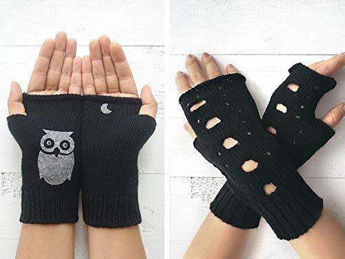 Fingerless Gloves Rock Gloves Valentine Gift Black Hand Warmers ...
