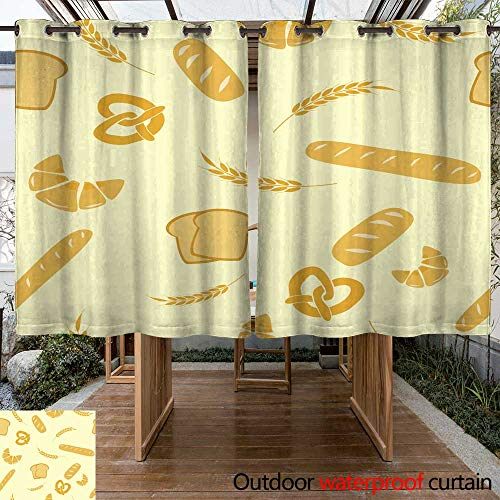 r Curtain for Patio Vector Seamless Background of Cereals W108 x L72 ()