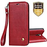 LG Aristo 2 Case,LG LV3 2018 Case, Ferlinso Elegant Retro Leather with ID Credit Card Slot Holder Flip Cover Stand Magnetic Closure Case for LG Aristo 2 / LG LV3 2018 / LG X210MA / LG X210-Red
