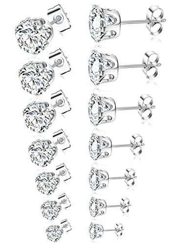 Tone Round Earrings - Tornito 7 Pairs 20G Stainless Steel Stud Earrings Round Cubic Zirconia Earring Set For Men Women 2MM-8MM Silver Tone