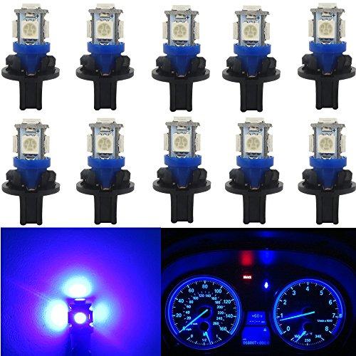 WLJH 10x T10 Wedge 5-5050SMD Blue LED Light Bulbs W5W 168 194 LED Instrument Panel Gauge Cluster Dashboard Lamp Bulb Set w/Twist Socket