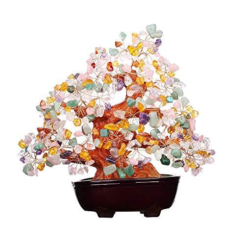 VOVOV Colorful Crystal Money Tree Feng Shui Natural Colorful Crystal Quartz Gem Stone Money -