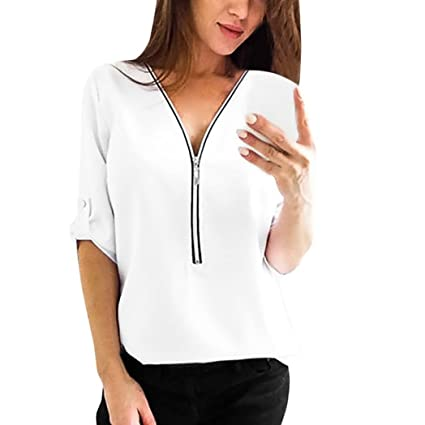Blusa de manga corta para mujer, elegante, casual, cuello en V, con cremallera, camisas de verano sólidas, sexy sueltas, blusas femeninas: Amazon.es: ...