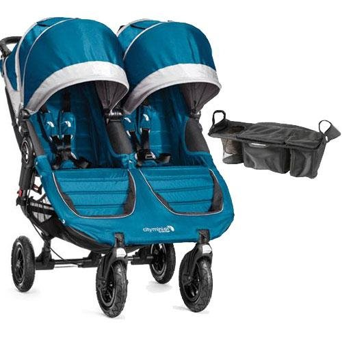 Baby Green Jogger - Baby Jogger - City Mini GT Double Stroller with Parent Console - Teal Gray