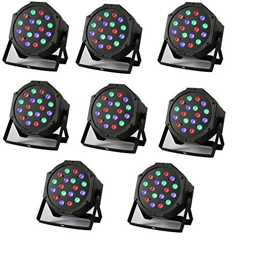 YMHWWW PAR LED Stage Light 8 PCS Par Lights 18X3W Stage Lighting for Club DJ Show Disco Party Strobe DMX-512