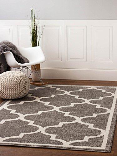 Gray 5 x 8 5 x 8 Area Rug Trellis Morrocan Modern Geometric Wavy Lines Area Rug Living Dining Room Bedroom Resistant Carpet Contemproary Soft Plush Quality