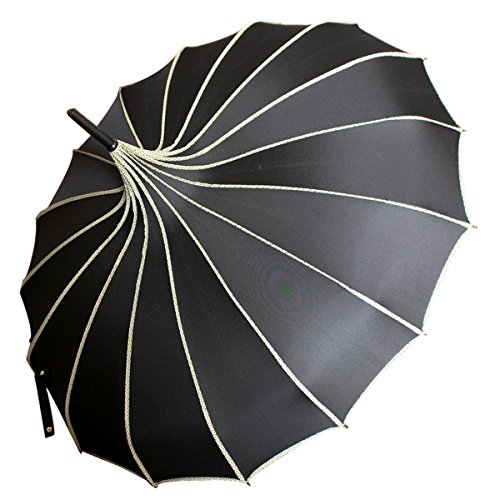 VIVI SKY Pagoda Peak Old-fashionable Ingenuity Umbrella Parasol (black) -