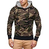 Hoodie For Men, HOT SALE !! Farjing Men's Autumn Casual Military Camouflage Patchwork Long Sleeve Hoodie Top Blouse(2XL,Brown )