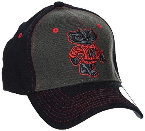 Zephyr NCAA Wisconsin Badgers Men's Vibe Cap, X-Large, Gray/Black