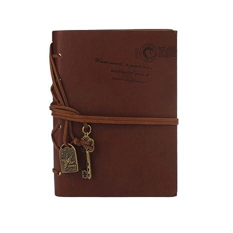 Oyedens PáGina 160 Classic Retro Vintage PU Leather Bound PáGinas En Blanco Diario Cuaderno Del Diario Agenda 2016 Weekly Planner Organizer (Café)