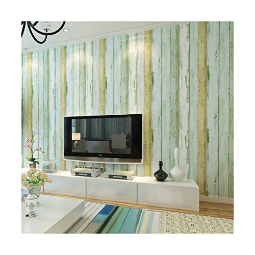 Wallpaper Striped Non-Woven Woodgrain Wallpaper Background Wall Blue ()