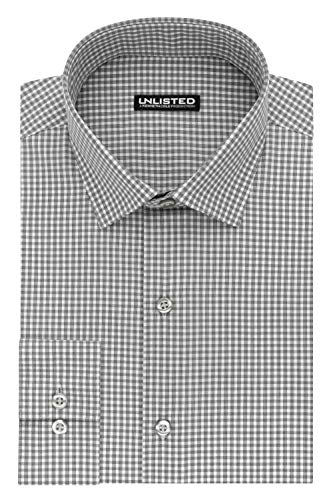 (Kenneth Cole Unlisted Men's Slim Fit Check Spread Collar Dress Shirt)
