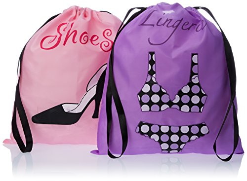 PURE STYLE Girlfriends Women's Travel Drawstring Bag Set Shoe and Lingerie, Pink/Purple, One Size from PURE STYLE Girlfriends