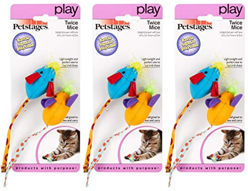 - Petstages 6 Pack of Twice Mice Cat Toys, Assorted Colors