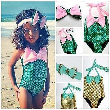 4b35f50d8d6ce Amazon.com : Kids Swimming Bikinis Set Two Pieces Baby Girls Bathing Suit  Baby Girls Mermaid Swimwear Bathing Suit New Arrival : Baby