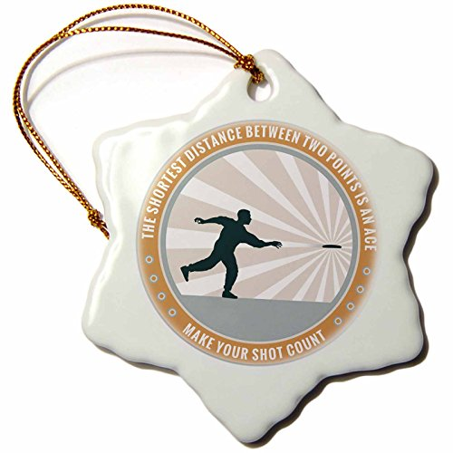 Frisbee Player (3dRose orn_52687_1 Make Your Shot Count-Frisbee Disc Golf Graphic Design of Silhouette Player Throwing-Snowflake Ornament, Porcelain, 3-Inch)