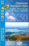 UK50-54 Chiemsee, Chiemgauer Alpen: Traunstein, Wasserburg a.Inn, Haag i.OB, Simsee, Kaiserwinkl (UK50 Umgebungskarte 1:50000 Bayern Topographische Karte Freizeitkarte Wanderkarte)