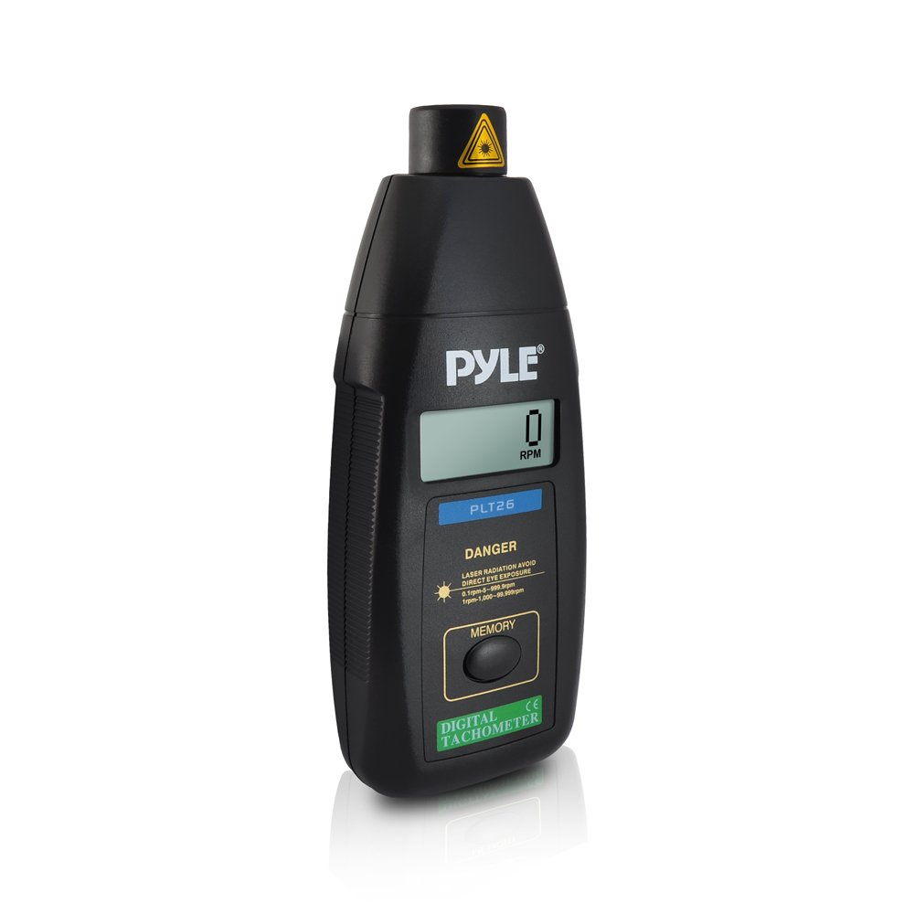 PYLE-METERS PLT26 Digital Non Contact Laser Tachometer with LCD Display, 99999 RPM Range and Carrying Case Sound Around