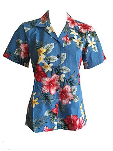 Women's Hibiscus Floral Hawaiian Aloha Camp Shirt (M, - Shirt Camp Hibiscus