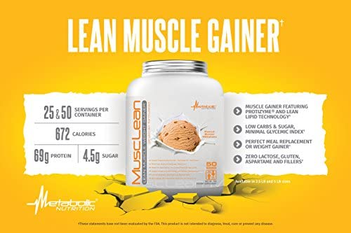 Metabolic Nutrition, Musclean, Whey Protein Meal Replacement, Weight Gainer, High Protein, Low Carb, High Fat, Keto Diet, Digestive Enzymes, 24 Vitamins and Minerals, Vanilla, 2.5 Pound (25 ser) 3