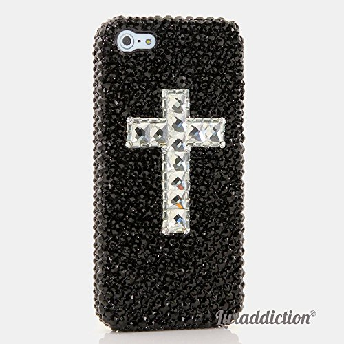 Case, iPhone 6 PLUS Case - LUXADDICTION® [Premium Quality] 3D Handmade Crystallized Bling Case Swarovski Crystals Diamond Sparkle Golden Black with Clear Cross Cover (Swarovski Crystal Cross Cell Phone)
