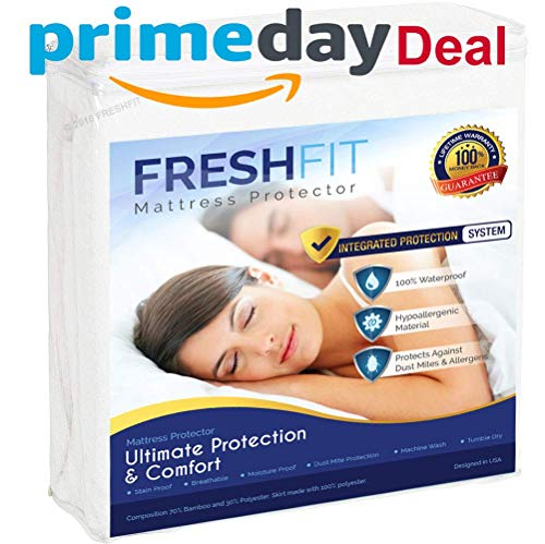 FRESHFIT Premium Waterproof Noiseless Mattress Protector. Comfortable Vinyl Free Protection from Perspiration and Fluid Spills. Twin Size. Free Bonus Included.