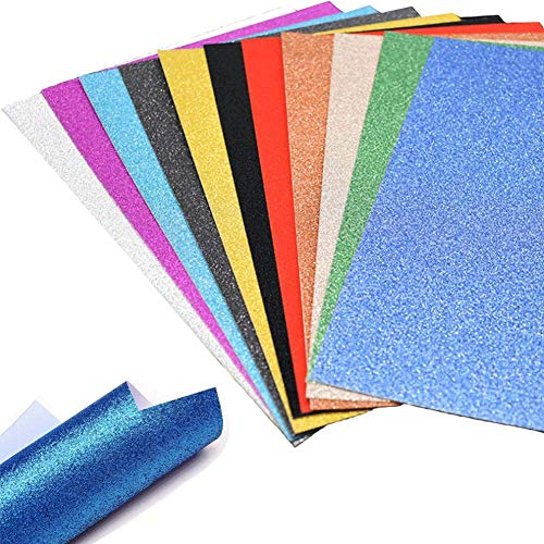 A4 Glitter Paper, 30 Sheets Glitter Self-Adhesive Sticker Sticky back Paper Craft Art Sparkling Sign Gemstone Metallic Color for Children's Craft Cutters Art ()