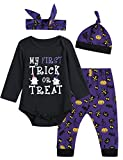 4PCS Baby Girls' My First Trick or Treat Outfit Set Halloween Costume Bodysuit