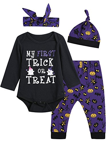4PCS Baby Girls' My First Trick Treat Outfit Set Halloween Long Sleeve Bodysuit (6-12 Months) -