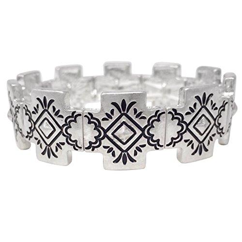 (Gypsy Jewels Tribal Print Silver Tone Stretch Bracelet (Squared Cross))