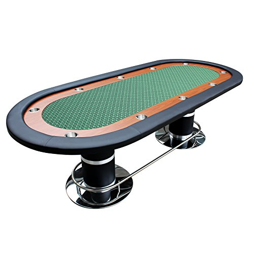 Poker Table for 10 Players Oval 96 x 43 Inch Racetrack Cup Holders Green Speed Cloth Stainless Pedestal Leg by IDS -