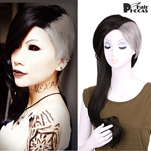 HairPhocas Anime Tokyo Ghoul Uta Wig 2-Tone Dyed Color Black and Gray Cosplay Wig Long Synthetic Hair with Free Wig Cap -