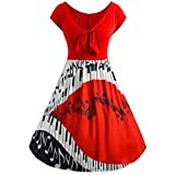Dress SanCanSn Women Plus Size Music Note Print Hollow Bandage Short Sleeve Evening Party Dress(Red ,2XL)