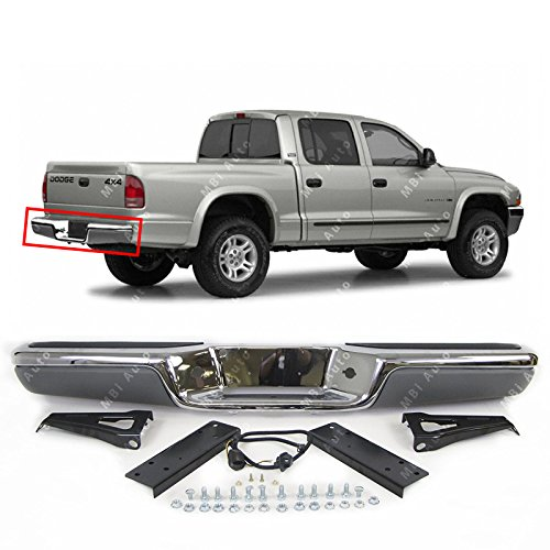 MBI AUTO - Chrome Steel, Rear Bumper Assembly for 1997-2004 Dodge Dakota Pickup 97-04, CH1103103