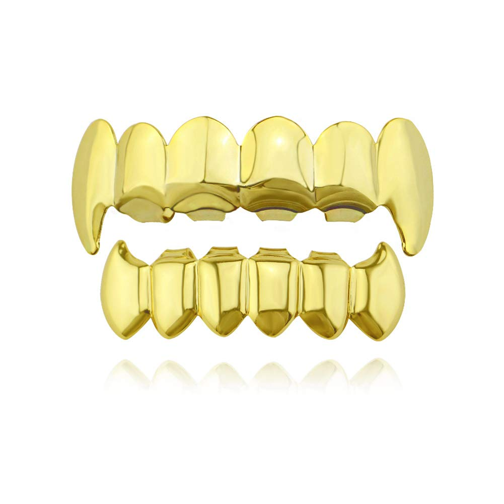 Punk Gothic Cosplay Halloween Party 18k Gold Plated Vampire Teeth Set, Hip Hop Teeth Grills for Teeth Mouth AnotherKiss 17880337011