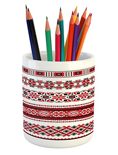 Ambesonne Red Pencil Pen Holder, Ukrainian Needlework Illust